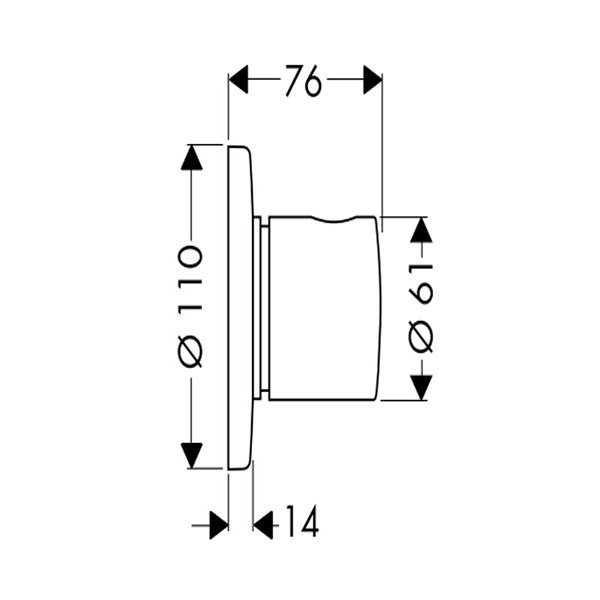 Bản vẽ Van đóng mở/ chuyển đổi chức năng Hafele Hansgrohe 589.50.314