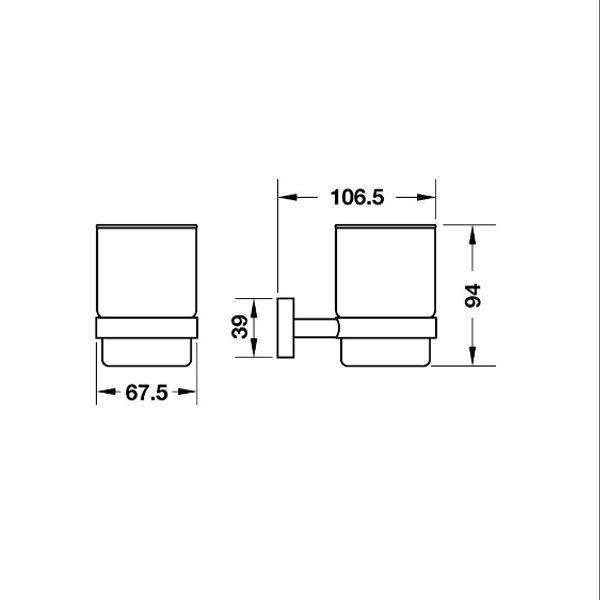 Bản vẽ Gía đỡ và ly InnoRound Hafele 580.34.360