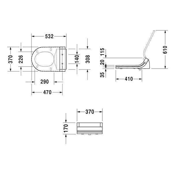 Bản vẽ Nắp bồn cầu cảm ứng Sensowash Starck C Duravit 588.45.478
