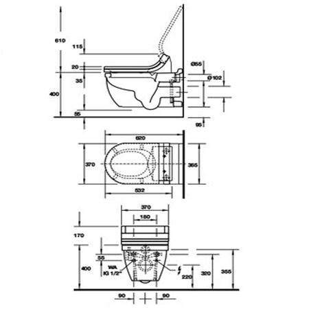 Bản vẽ Bồn cầu treo tường Starck 3 Duravit 588.45.552