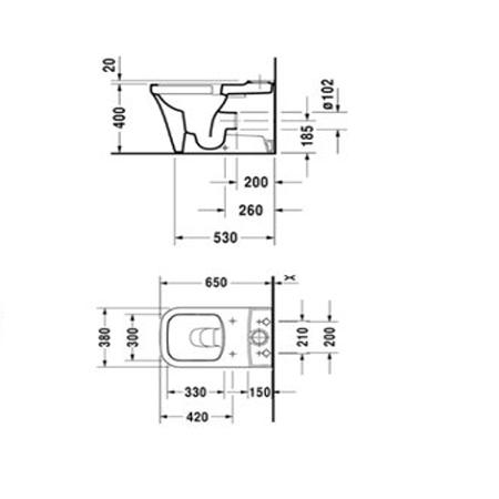 Bản vẽ Bồn cầu hai khối P3 Comforts Duravit 588.45.580