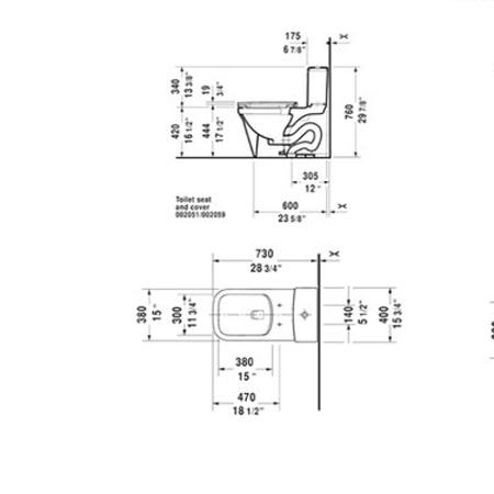 Bản vẽ Bồn cầu 1 khối P3 Comforts Duravit 588.45.581