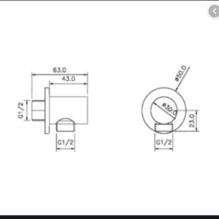 Bản vẽ Bộ tiếp nước dạng tròn Hafele 485.60.008