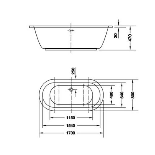 Bản vẽ Bồn tắm âm tròn Hafele 588.55.601