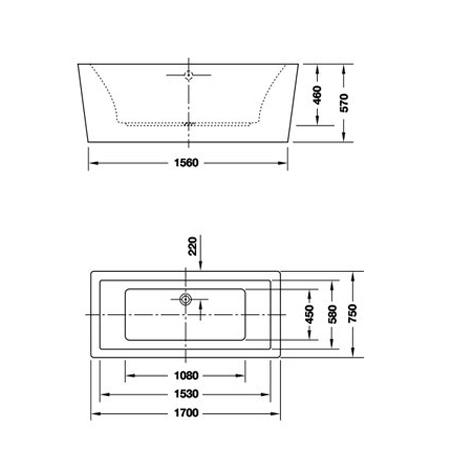 Bản vẽ Bồn tắm độc lập vuông Hafele 588.55.640