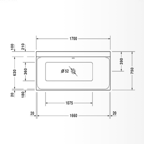 Bản vẽ Bồn tắm âm P3 Comforts Duravit 588.45.700