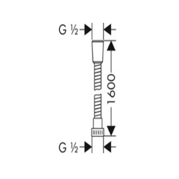 Bản vẽ Dây sen Hafele Hansgrohe Metaflex 1,6m 589.29.905