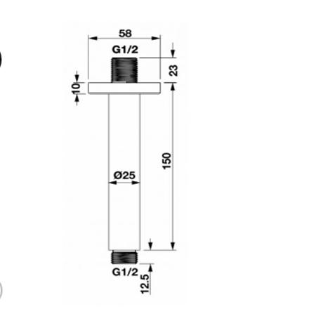 Bản vẽ Tay sen gắn trần Hafele 485.60.954