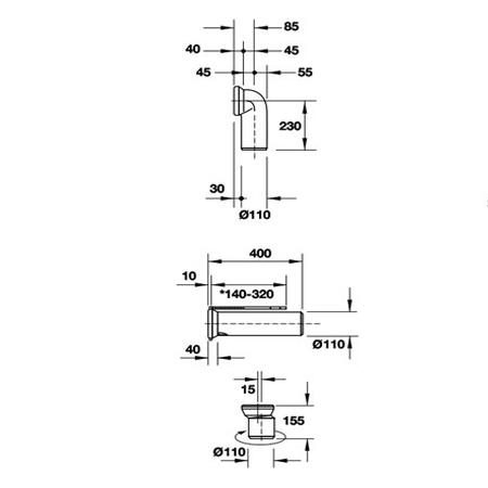 Bản vẽ Bộ nối chuyển đổi đường xả đa năng Duravit 588.45.983