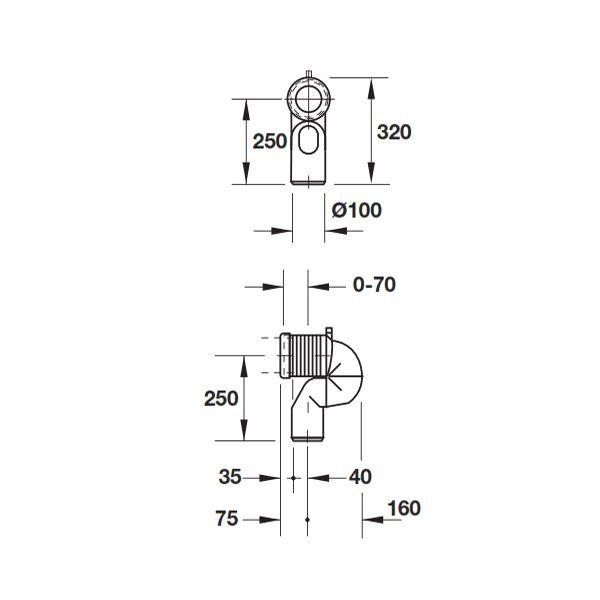 Bản vẽ Bộ ống nối xả thẳng Duravit 588.45.984