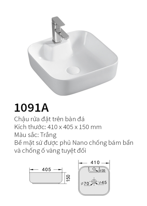 Chậu rửa mặt đặt bàn Kolni 1091A
