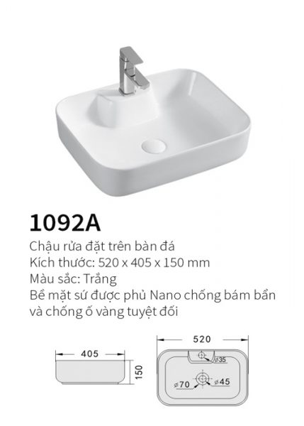 Chậu rửa mặt đặt bàn Kolni 1092A